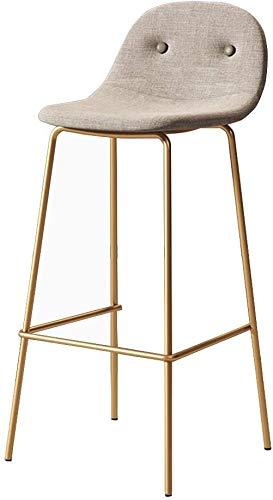 WONKIIN Nordic Taburetes, Moderno de Hierro Dorado Respaldo Silla Taburete cenar sillas con Asiento de Lino para la Cocina casera Bar Cafe Pub, Asiento Beige (65cm)