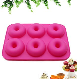 6-Cavity Donut Pan Nonstick - Professional Grade Donut Silicone Mold (Rose Red)
