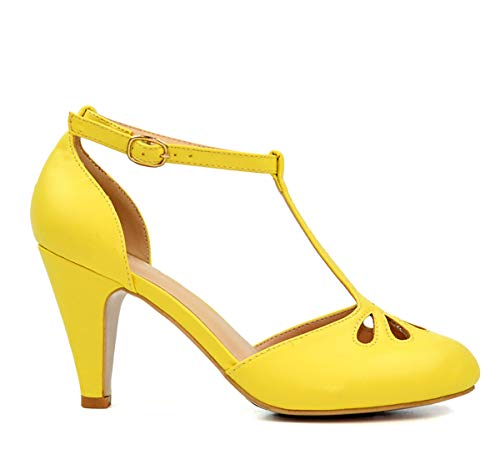 Chase & Chloe KIMMY-36 Womens Teardrop Cut Out T-Strap Mid Heel Dress Pumps, Color:Yellow, Size:7.5