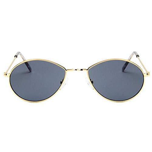 XJYJF UV400 Gafas de Sol del Nuevo pequeño óvalo de Hombres de Las Mujeres Gafas de Sol del Metal (Color : Gold Gray)