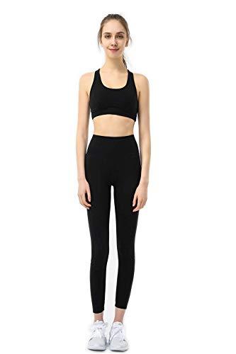 Eagool Conjuntos de Entrenamiento para Mujer Trajes de 2 Piezas Leggings de Yoga de Cintura Alta y Sujetador Deportivo Ropa de Gimnasio Medio Negro