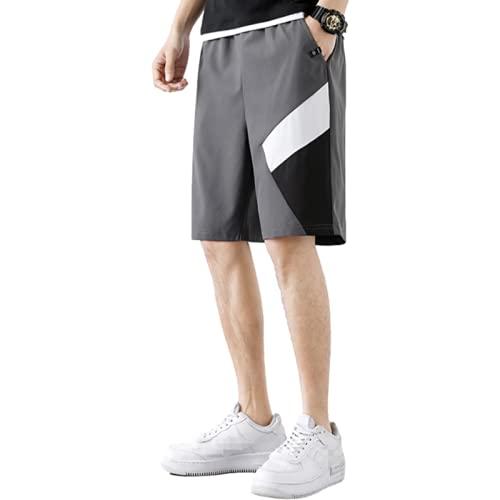 Pantalones Cortos con Costuras en Contraste de Color a la Moda para Hombre Pantalones Cortos Sueltos de Verano de Gran tamaño para Entrenamiento al Aire Libre con Bolsillos XL