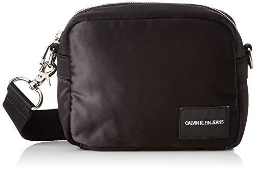 Calvin Klein Jeans Unisex-Erwachsene Satin Camera Bag Henkeltasche, Schwarz (Black), 8x16x12 cm