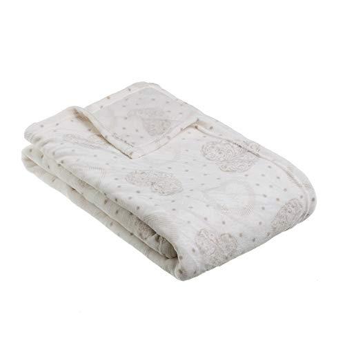 Manta de pie de Cama Beige de Microfibra romántica para Dormitorio France - LOLAhome