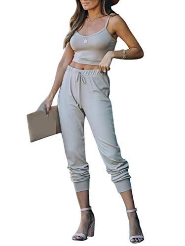 Minetom Conjunto de Entrenamiento de 2 Piezas para Mujer Deportiva Fitness Yoga Camiseta Sin Mangas y Pantalones con Cordón Gris 38