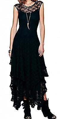 R.Vivimos Sleeveless Backless Asymmetrical Layered Lace Dress