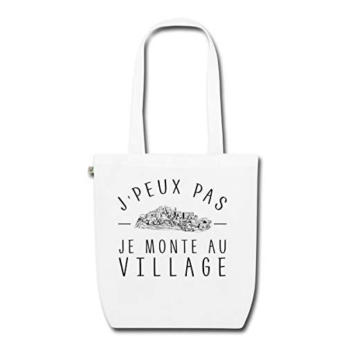 Spreadshirt JPeux Pas Je Monte Au Village Sac En Tissu Bio, blanc