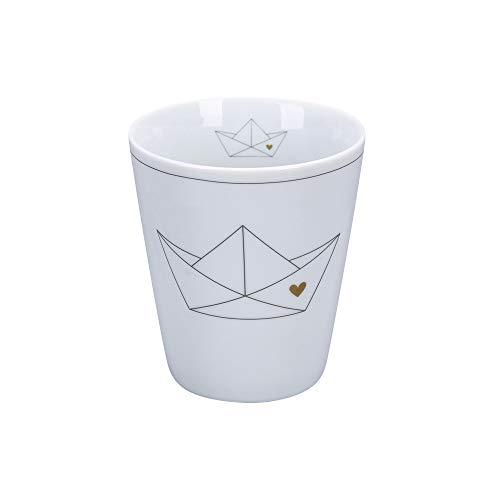 Krasilnikoff - Happy Mug - Becher, Tasse - Paperboat with Heart - Porzellan - H10 x Ø8,7 cm - Volumen: 330 ml