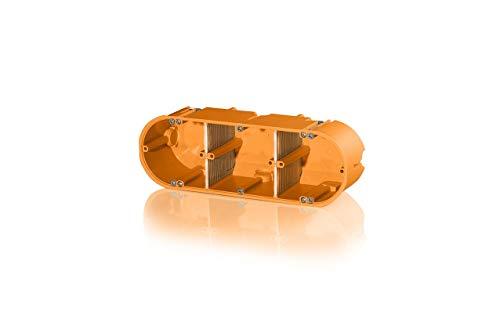 f-tronic Hohlwand-Gerätedose massiv, 3-fach, 60mm tief, HW30, orange, Inhalt: 5, 5 Stück