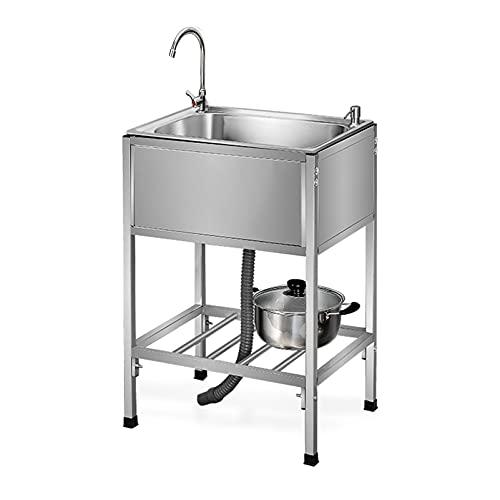 LIYANLCX Fregadero de preparación de Cocina de un Solo Recipiente, Compartimento Comercial Independiente de Acero Inoxidable 304 con desagüe de Grifo Giratorio de 360 Grados