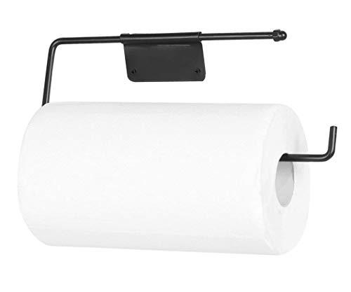 NEEZ Dispensador de rollo de papel higiénico con soporte para toallas de cocina, estante montado en la pared que cabe en un armario o debajo del armario (negro mate)