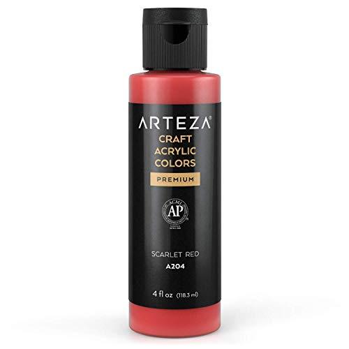 Arteza Craft farba akrylowa, A203 Scarlet Red 4fl oz (118 ml) butelka, na bazie wody, mieszana, matowa farba akrylowa do projektów artystycznych i DIY na szkle, drewnie, ceramice, tekstyliach, papierze i płótnie