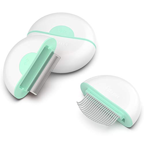 Pakeway Deshedding Grooming Brush for Dog Cat Hair, 2 in 1 Mini Design...