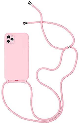 N / A Funda Silicona con Cuerda para iPhone 11 Pro MAX(protección para cámara), Carcasa Suave Silicona Case con Correa Colgante Ajustable Collar Correa,Carcasa TPU Silicona Case-(Rosado)