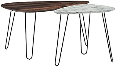 Nathan James Bodhi Mid-Century Nesting Coffee Table Set of 2, Stacking Side or End for Living Room with Faux Carrara Marble,