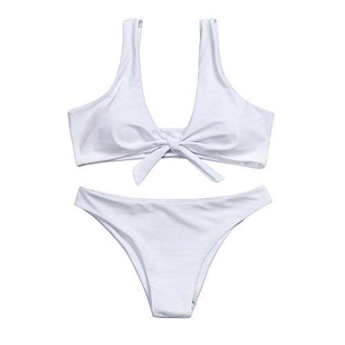AMUSTER Sexy Damen Bikini Set Strand Bademode Badeanzüge Bikinis für Frauen Mädchen Bandeau Trägerlosen Badeanzug Push Up mit Bügel Bikini Oberteil + Höschen (L, Weiß)