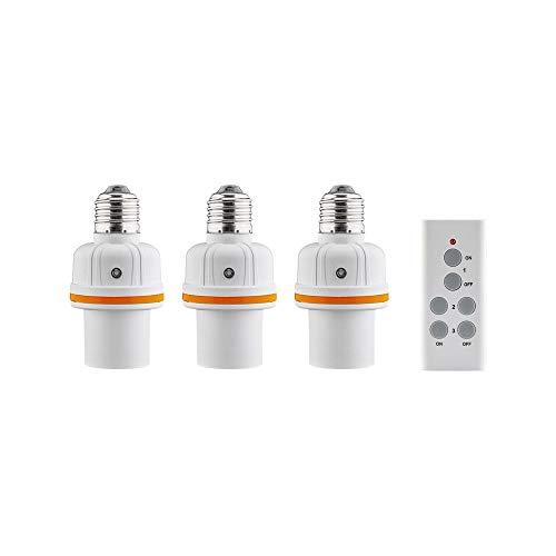 Goobay 3-delige set lamphouder E27 met draadloze afstandsbediening; 3-delige set lamphouder E27 met afstandsbediening, wit - ideaal voor bergruimtes, zolders, kelders, garages, gangen of trappen