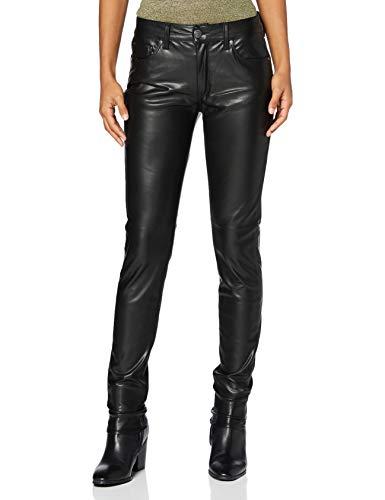 Herrlicher Damen Super G Slim Fake Leather Hose, Black 11, W28/L32
