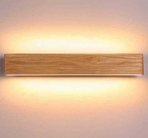 Martll Aplique de pared LED Lámpara de pared Interior Madera Aplique Lámpara de arriba y abajo Iluminación de pared para sala de estar Dormitorio Pasillo Escalera Blanco Cálido Luces (52cm)