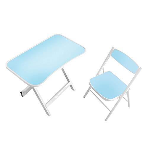 Kidoo - Mesa Infantil + Silla para niños - Mesa de Estudio o para Jugar los niños (Azul)