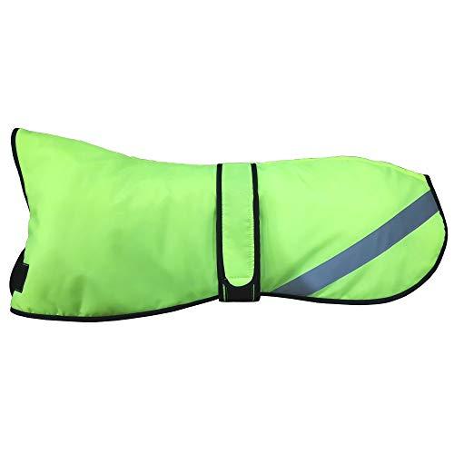 AMATHINGS Wasserdichter Hi Viz Neongelb Neon Grün mittelgroße Thermo Allwetter Wärme-Hundemantel/Hunde-Jacke Mit Fleece-Fütterung Kragen Loch Für die Leine