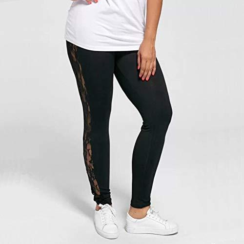 NXCY01 Plus Size L-3XL Women Lace Pants Black Insert Sheer Leggings Elastane Leggings (Color : Black, Size : XXXL)