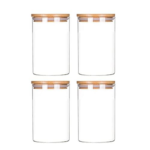 XIN NA RUI Bote Cristal 1200 ml Comida de Vidrio Sellado Tarro con Tapa de Madera de bambú Frijoles de café Nueces Granos de Azúcar Azúcar Cans Latas Alimentación Conservación