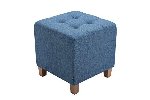CLP Sitzhocker Pharao mit Stoffbezug I Sitzwürfel mit hochwertiger Polsterung und Bodenschonern, Farbe:blau