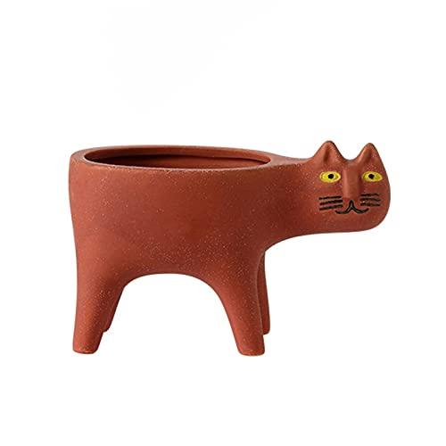 KILIK, vasi per piante grasse interessanti a forma di gatto, in ceramica, da giardino, decorazione per ufficio, casa e scrivania