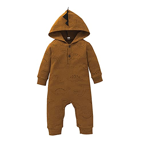 0-2 Years,SO-buts Infant Baby Boys Girls Long Sleeve Dinosaur Printed Cartoon Hooded Romper Long Sleeve Jumpsuit Fashion Casual Autumn Winter Clothes (Brown, 9-12 Months)