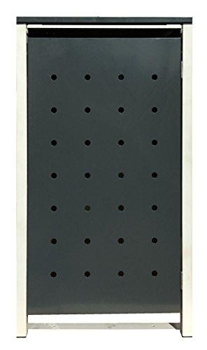 BBT@ | Hochwertige Mülltonnenbox für 3 Tonnen je 240 Liter mit Klappdeckel in Grau / Aus stabilem pulver-beschichtetem Metall / Stanzung 1 / In verschiedenen Farben sowie mit unterschiedlichen Blech-Stanzungen erhältlich / Mülltonnenverkleidung Müllboxen Müllcontainer - 3