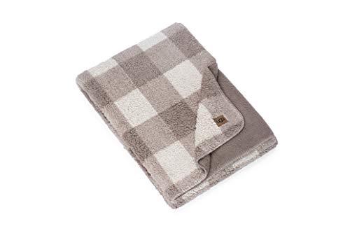 UGG - Athena Plaid Throw Blanket - Plush Oversized Reversible Accent Blanket - 50' x 70' - Light Fawn