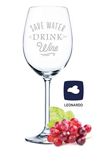 Leonardo Weinglas mit Gravur - Save water drink wine - Geschenk für Hobby-Sommelier & Weinliebhaber - Weingläser - Geburtstagsgeschenk für Frauen & Männer