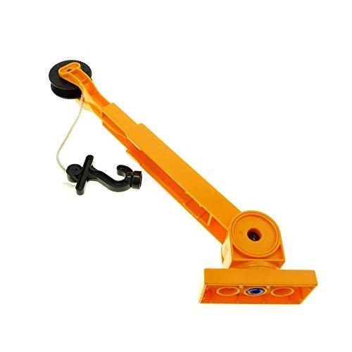 Bausteine gebraucht 1 x Lego Duplo Kran Ausleger orange mit Haken schwarz Seilwinde Kranarm Auto 41168c02