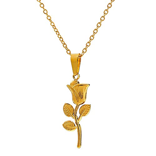 NVTHINH Trendy Metal Rose Flower Pendant Necklace 316 Stainless Steel Waterproof Jewelry Collar Necklace цепочка на шеÑŽ женская (Metal Color: YH1276A Gold)