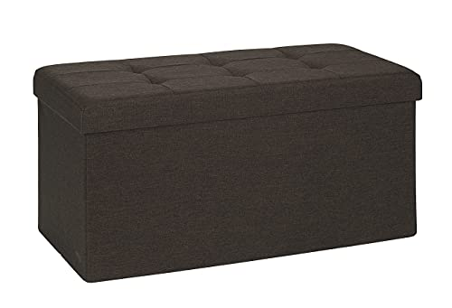 D&D Quality Puff Almacenaje Plegable, Asiento Acolchado, 76 x 38 x 38 cm - Exterior Estilo Lino - Carga Máxima de 300 kg (Brown)