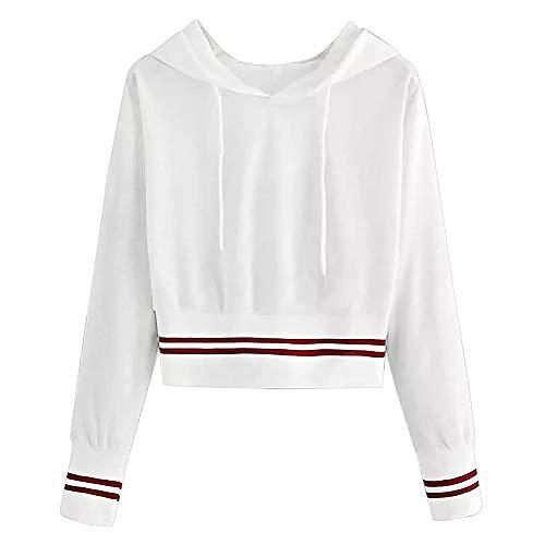 Zarupeng dames lange mouwen hoodies sweatshirt jumper met capuchon ronde hals witte pullover crop top blouse korte mantel