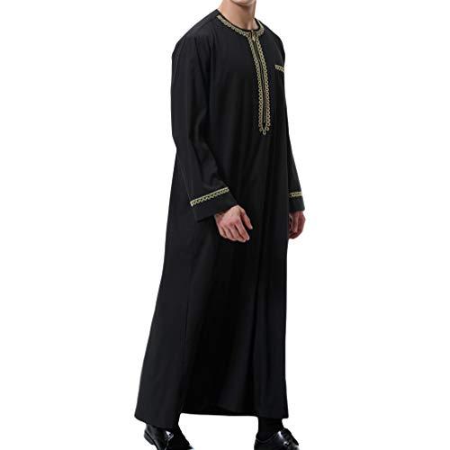 Herren Muslim Druck Kaftan Islamisch Royalty Dubai Robe O-Ausschnitt Lange Ärmel Retro Tuniken Abaya Lose Kandoura