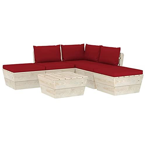 Tidyard Muebles de jardín de palets 6 Piezas y Cojines Madera de Abeto 5# Sofás Palets Conjuntos de Muebles de jardín Mesas de Comedor de Patio