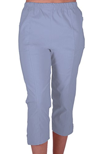 EyeCatchClothing Cora Damen Stretch Capri Crop Shorts Capri-Hose Pants der Frauen 3/4 Dreiviertelhose Himmelblau Gr. 44