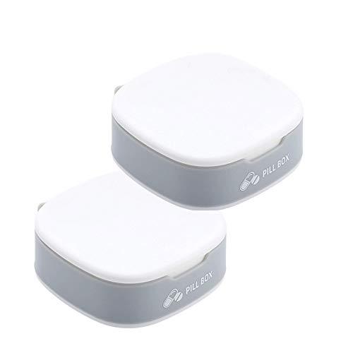 2-pack Pill Organizer Box - 4 Compartiment Kleine Pillendoos voor Pocket Daily Pill Box voor Vitamine, Portable Pill Organizer voor Meisje,White