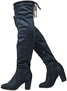 0e26def4127 DREAM PAIRS Women s Thigh High Fashion Over The Knee Block Heel Boots