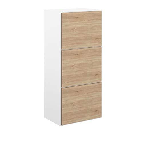 Movian Odiel - Armario zapatero, 50 x 33.1 x 118.7cm (largo x ancho x alto), roble y blanco