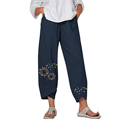ADYD Pantalones cortos de algodón de lino y pierna ancha para mujer con estampado de flores y cintura elástica