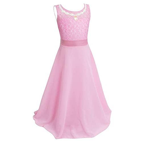 L PATTERN Vestido Comunion Niña, Vestido de Noche Princesa Niña Super Soñadora, Disfraz niña, Falda con Ribete de Encaje, Rosa, 6-7 Años