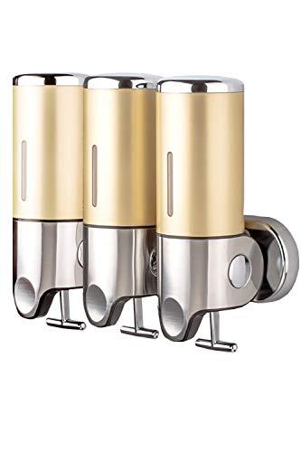 BENQUE ソープディスペンサー 壁掛け 手動 浴室 洗面所 詰替え シャンプー ゴールド(1500ml 3連)