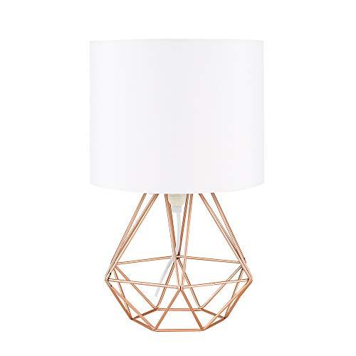 MiniSun – Schöne kupferfarbige Tischlampe im retro Körbchenstil mit weißem Lampenschirm inklusive Kabel und Stecker – Tischleuchte