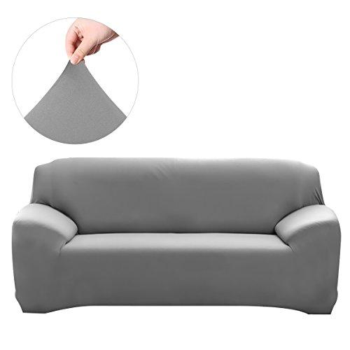 Winomo - Funda de sofá de salón, extensible, 3 plazas, de Spandex, decoración, gris