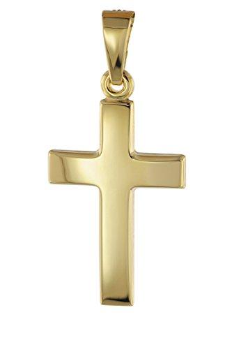 trendor Anhänger 585 Gold Kreuz 18 mm Damen Kettenanhänger aus Gold, modischer Kreuzanhänger, zeitlose Geschenkidee, zauberhafter Schmuck aus Echtgold 08609