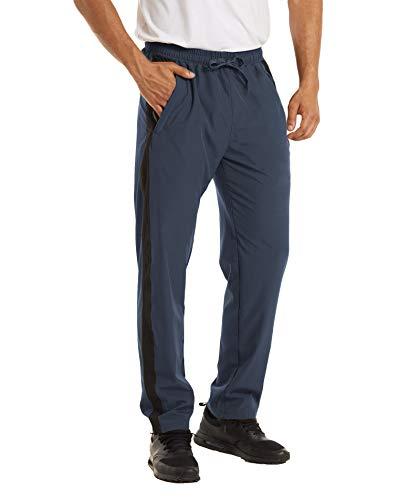 KEFITEVD Pantalon de sport pour homme à séchage rapide avec poches zippées à rayures Pantalon de jogging léger stretch Pantalon de loisirs Pantalon de sport Pantalon de sport - Bleu - W40